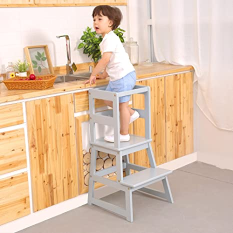 Remarkable Unicoo Kids Step Stool Kids Learning Stool Kids Kitchen Step Stool With Safety Rail Solid Wood Construction Perfect For Toddlers Gray 01 Beatyapartments Chair Design Images Beatyapartmentscom