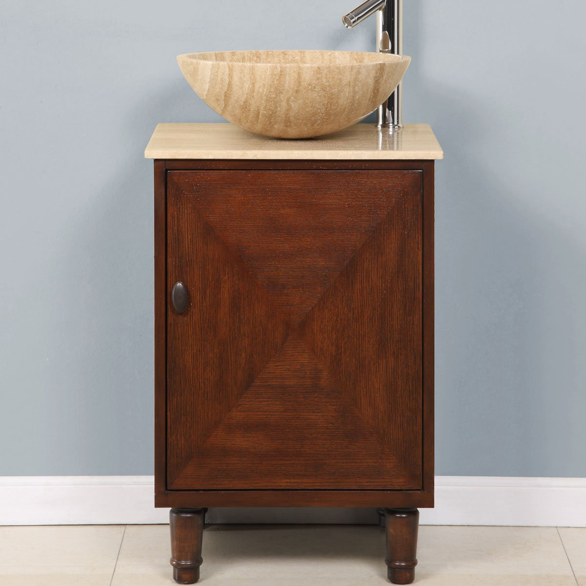 Silkroad Exclusive Travertine Stone Top Single Sink Bowl Vessel Bathroom Vanity with Cabinet, 20-Inch