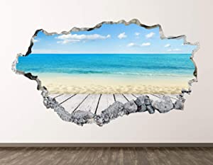 "West Mountain Beach View Wall Decal Art Decor 3D Smashed Kids Beach View Ocean Sticker Mural Home Gift BL15 (22"" W x 14"" H)"