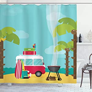 """Ambesonne Explore Shower Curtain, Caravan Camping with Barbeque and Surf Boards Tropical Beach Banana Coconut Trees, Cloth Fabric Bathroom Decor Set with Hooks, 75"""" Long, Pale Blue"""