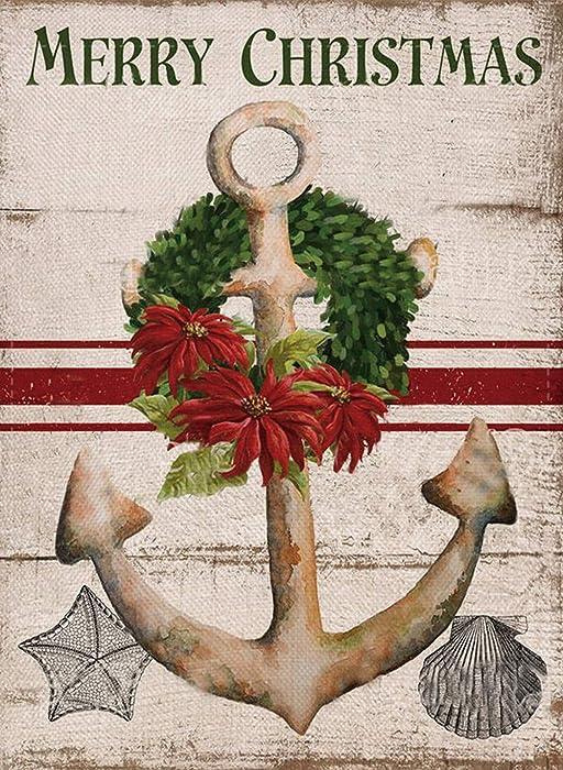 Furiaz Merry Christmas Decorative Garden Flag, Nautical Xmas Outdoor Flag Sign with Boxwood Wreath, Rustic Burlap House Yard Flag Vintage Winter Outside Decoration Seasonal Home Decor Flag 12 x 18