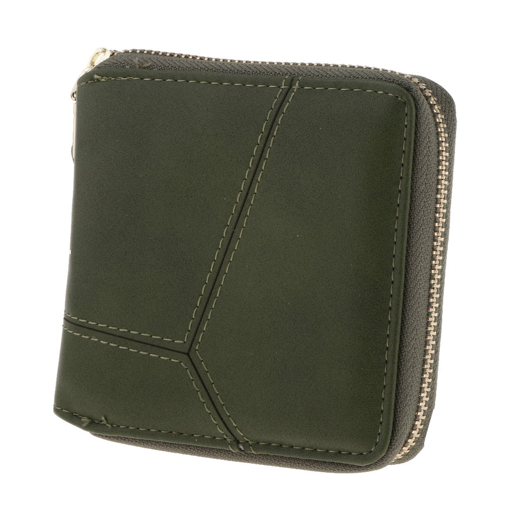 Fityle Women's Small Compact Bifold PU Leather Pocket Wallet Purse Credit Card Holder Case - Army Green, as described