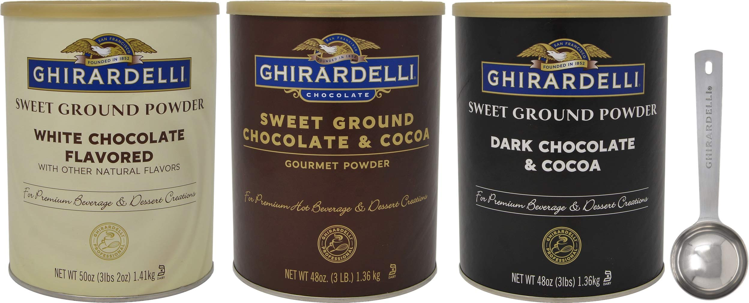 Ghirardelli Sweet Ground Premium Powder 3 Flavor Variety, 1 - 3 Pound Can Each, White Chocolate, Chocolate, and Dark Chocolate with Limited Edition Measuring Spoon by Ghirardelli