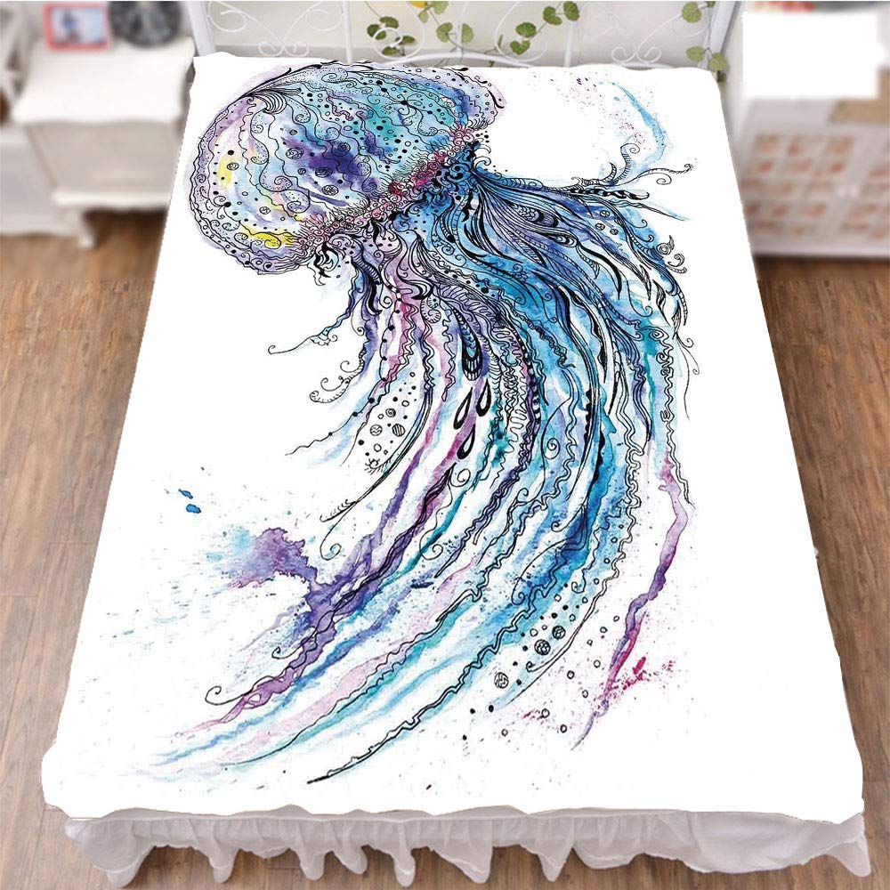 iPrint Bed Skirt Dust Ruffle Bed Wrap 3D Print,Animal Print Sketch Style Creative Sea Marine,Fashion Personality Customization adds Color to Your Bedroom. by 59''x78.7''