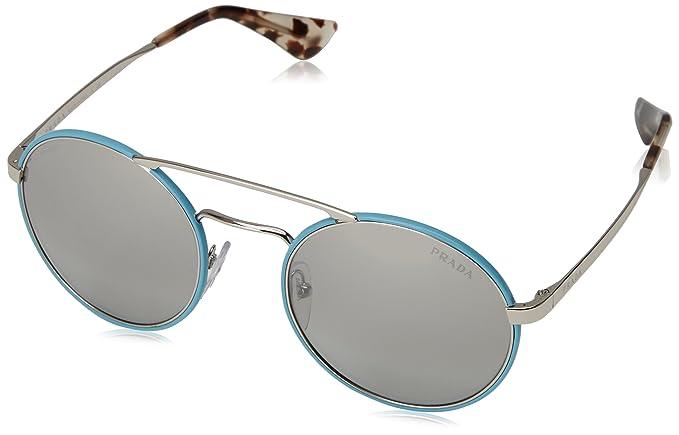 44f058d926ec Prada Women s 0PR 51SS Silver Azure Light Grey Mirror Gradient Silver  Sunglasses