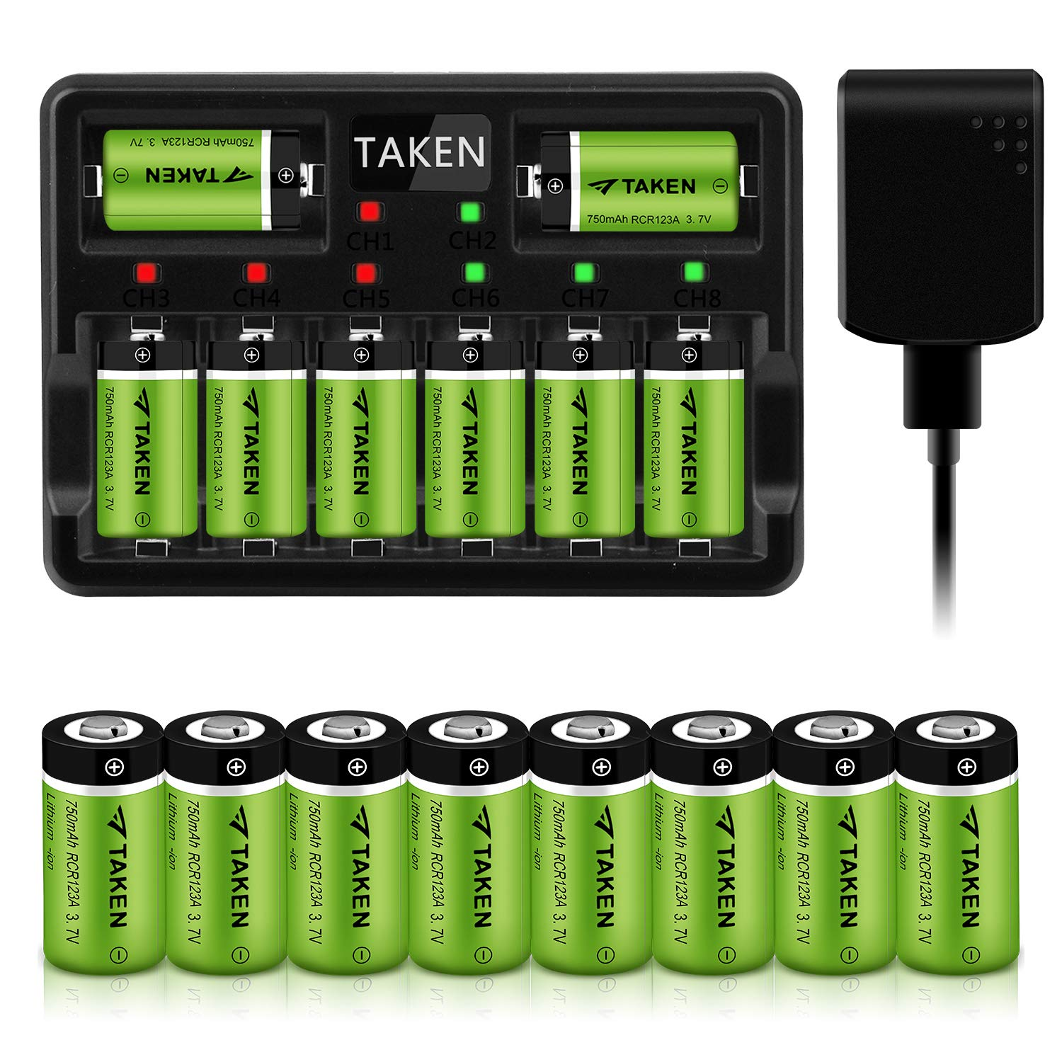 Taken CR123A Rechargeable Batteries, 3.7V 750mA Li-ion Rechargeable Batteries for Arlo Camera (VMC3030/VMK3200/VMS3330/3430/3530), 16 Pack CR123A Batteries with 8-Ports Charger by Taken one