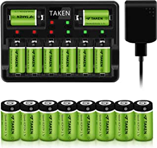 CR123A Rechargeable Batteries, Taken 3.7V 750mA Li-ion Batteries for Arlo Camera (VMC3030/VMK3200/VMS3330/3430/3530), 16 Pack RCR123A Batteries with 8-Ports Charger (16 Pack with 8-Ports Charger)