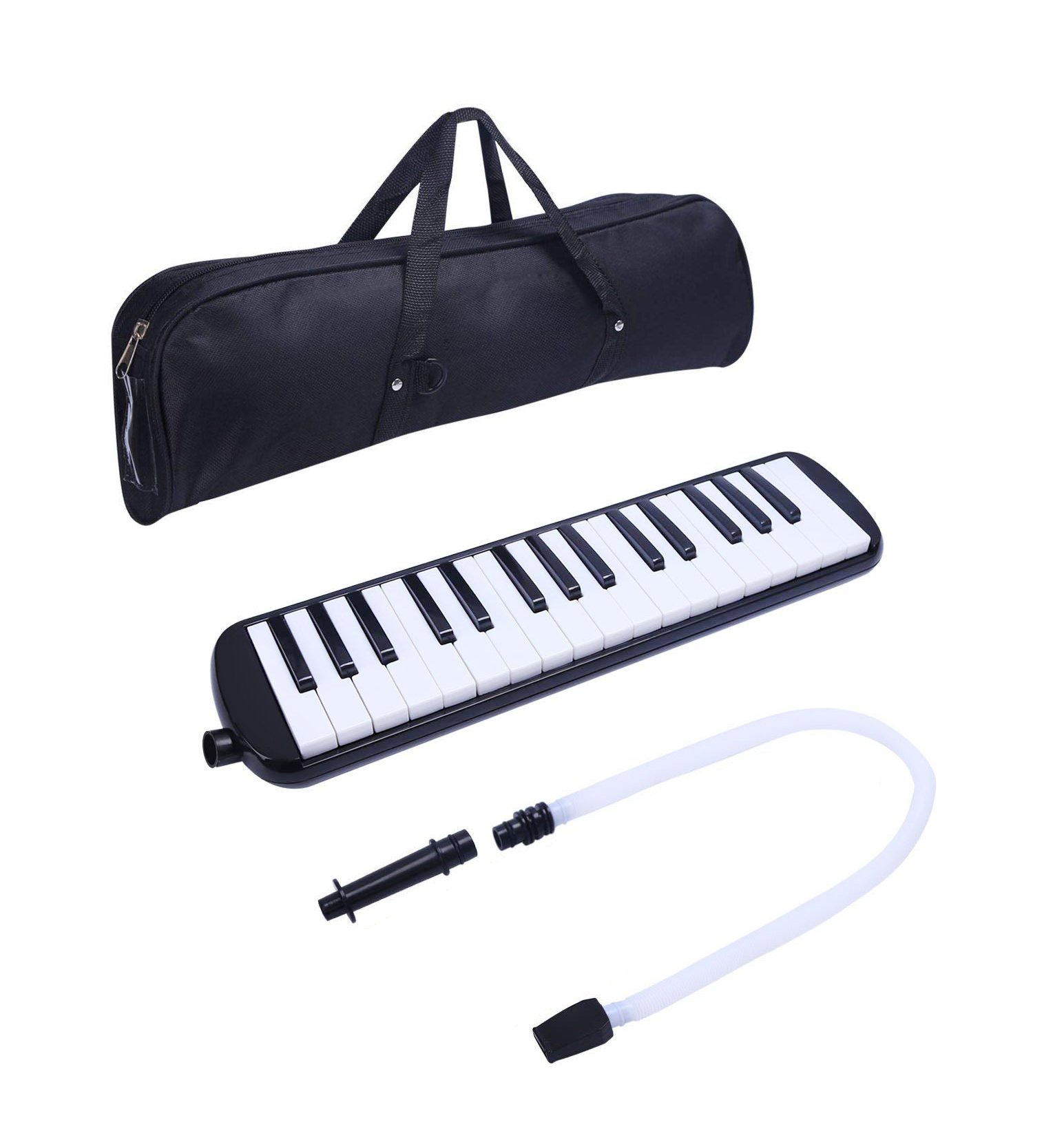Timiy 32 Keys Melodica Piano with Mouthpieces Tube & Carrying Bag Musical Instrument Black