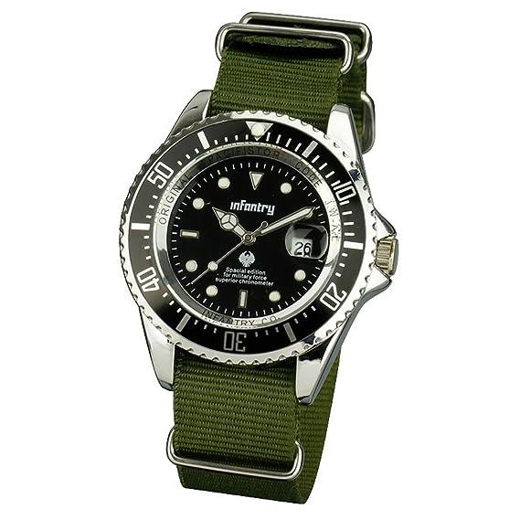 Infantry IN-019-S-GN - Reloj, Correa de Nailon Color Negro: Amazon.es: Relojes