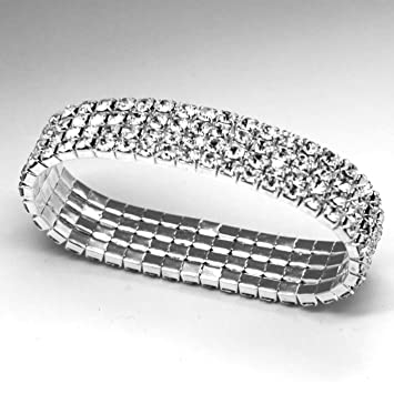 acbd879e09df0 fi9® 4 Row Stretchy Stretch Diamante Silver Bracelet Bangle