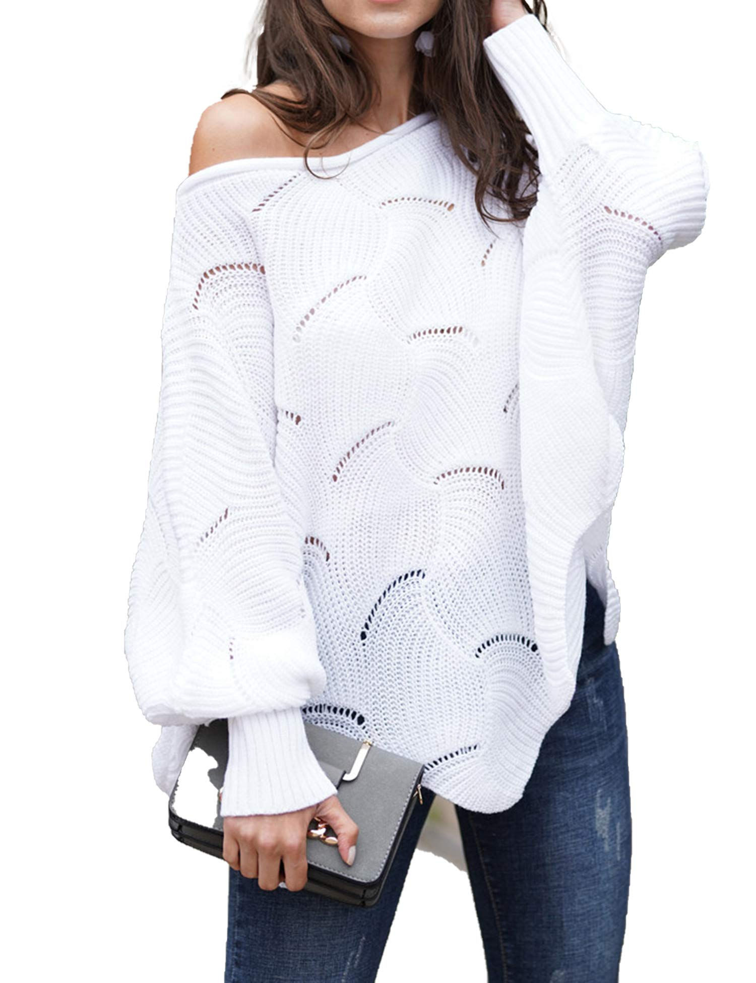 Relipop Women's Pullover Batwing Sleeve Loose Hollow Knit Sweaters White by Relipop