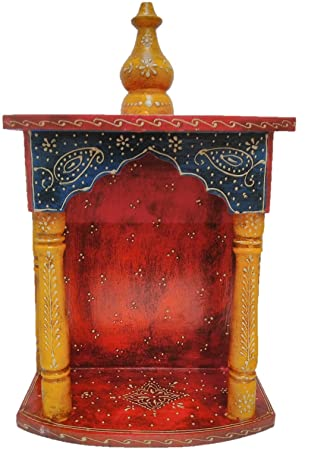 Jaipurcrafts Decorative Home Temple Wooden Temple Pooja Mandir Mandap Wooden Temple Mandir With Beautiful Rajasthani Emboss Work On It