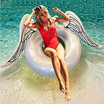 Huaanlonguk Flotador Inflable para Piscina con Forma de alas de ángel, Flotador Gigante de la Piscina Juguetes acuáticos Divertidos con Válvulas ...