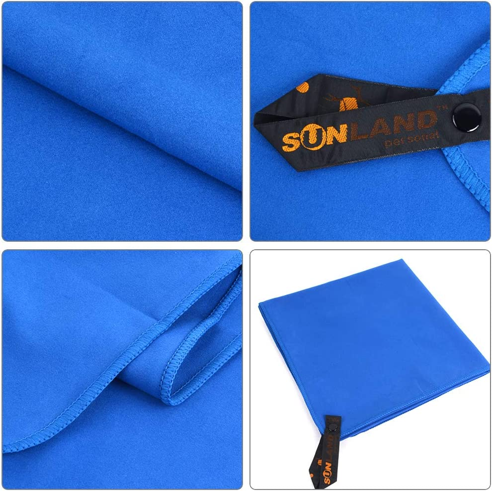 SUNLAND Microfiber Sports Travel Towel Fast Drying Camping Towel Ultra Compact and Super Absorbent Beach Towel Suitable for Gym Backpacking Workout Swimming Yoga Hiking