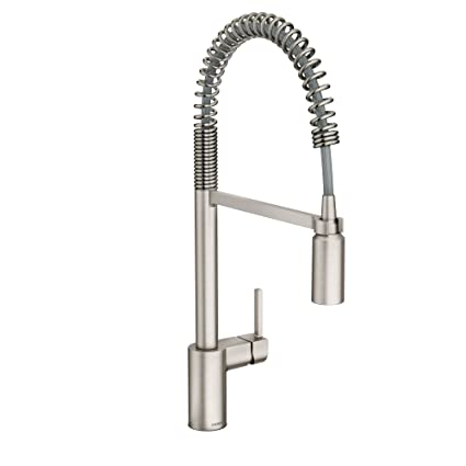 moen 5923srs align one handle pre rinse spring pulldown kitchen faucet spot resist - Pull Down Kitchen Faucet