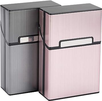 LUWANZ 2X Caja de Cigarrillo, Cigarette Case de la aleación de Aluminio con el Color Gris y Rosa, Funda de Aluminio con la Cerradura magnética para 20 Cigarrillos (No Incluye Cigarrillos): Amazon.es: