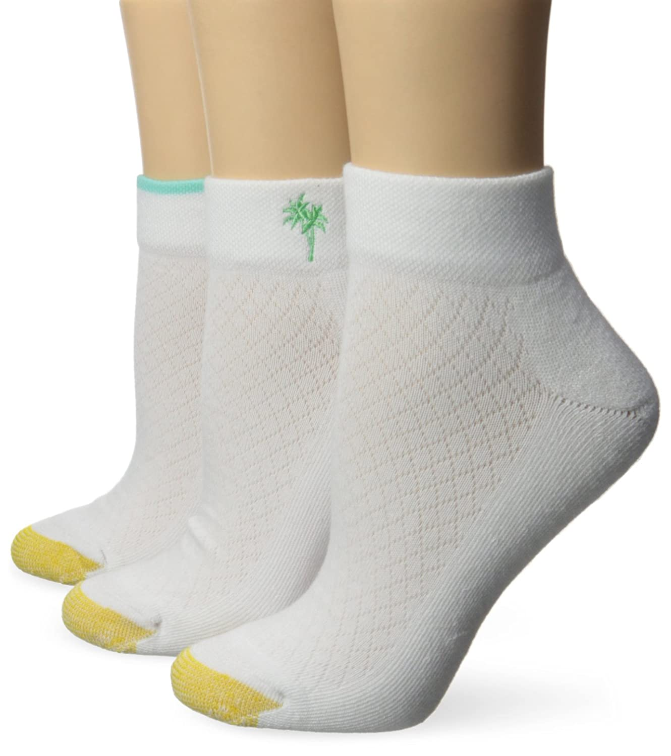 Gold Toe Women's Embroidery Vacation Low Quarter Athletic Sport Sock 3-Pack