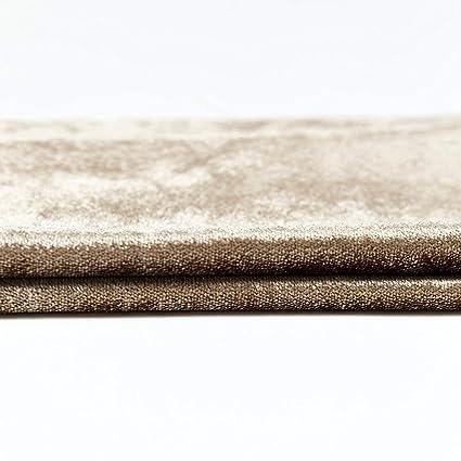 McAlister Textiles Manta de Terciopelo Brillante, Ideal para sofá, Cama, sillones, Terciopelo, Beige, Table Runner (34cm x 274cm)