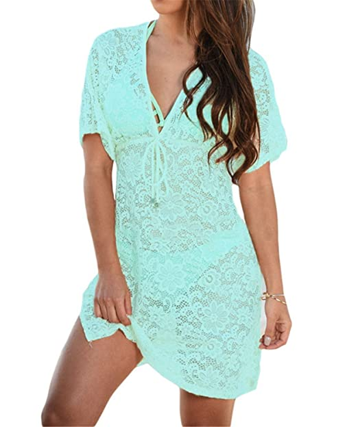 3491d2dd1923b Marvin Cook Lace Cover Up Pareo Bikini Tunic Plus Dress Knitted White  Swimsuit 42054 Bluish Green