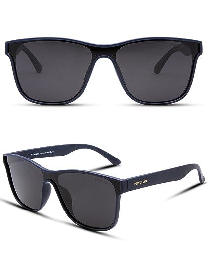 677e5641e6d38 PUKCLAR Classic 80 s Vintage Style Wayfarer sunglasses Men Women One piece  Lens Polarized Eyeglasses 100%