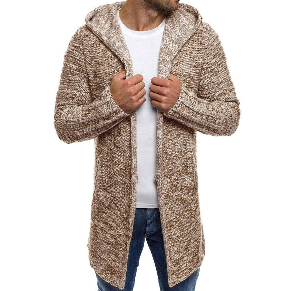 Mens Cardigan Sweater Shawl Collar Open Front Long Sleeve Knit Slim Fit Vintage Coat with Pockets (M, Khaki)