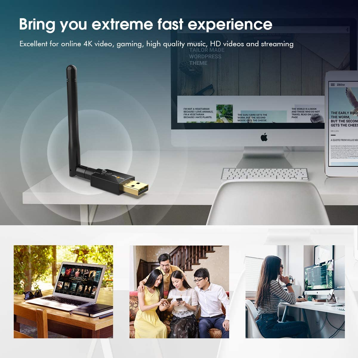 AC1300 WiFi Adapter 2.4//5GHz Dual Band Wireless Adapter USB 3.0 WiFi Card for Laptop Desktop PC Support Win 7//8.1//10//XP//Vista USB Flash Driver Include Mac OS X10.6-10.15