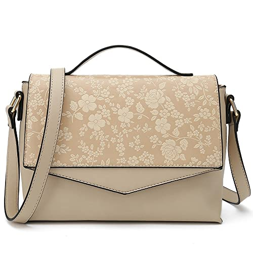 464ed88349 Floral Cross Body Purses for Women Designer Shoulder Bags ladies Fashion  Handbag (Beige)