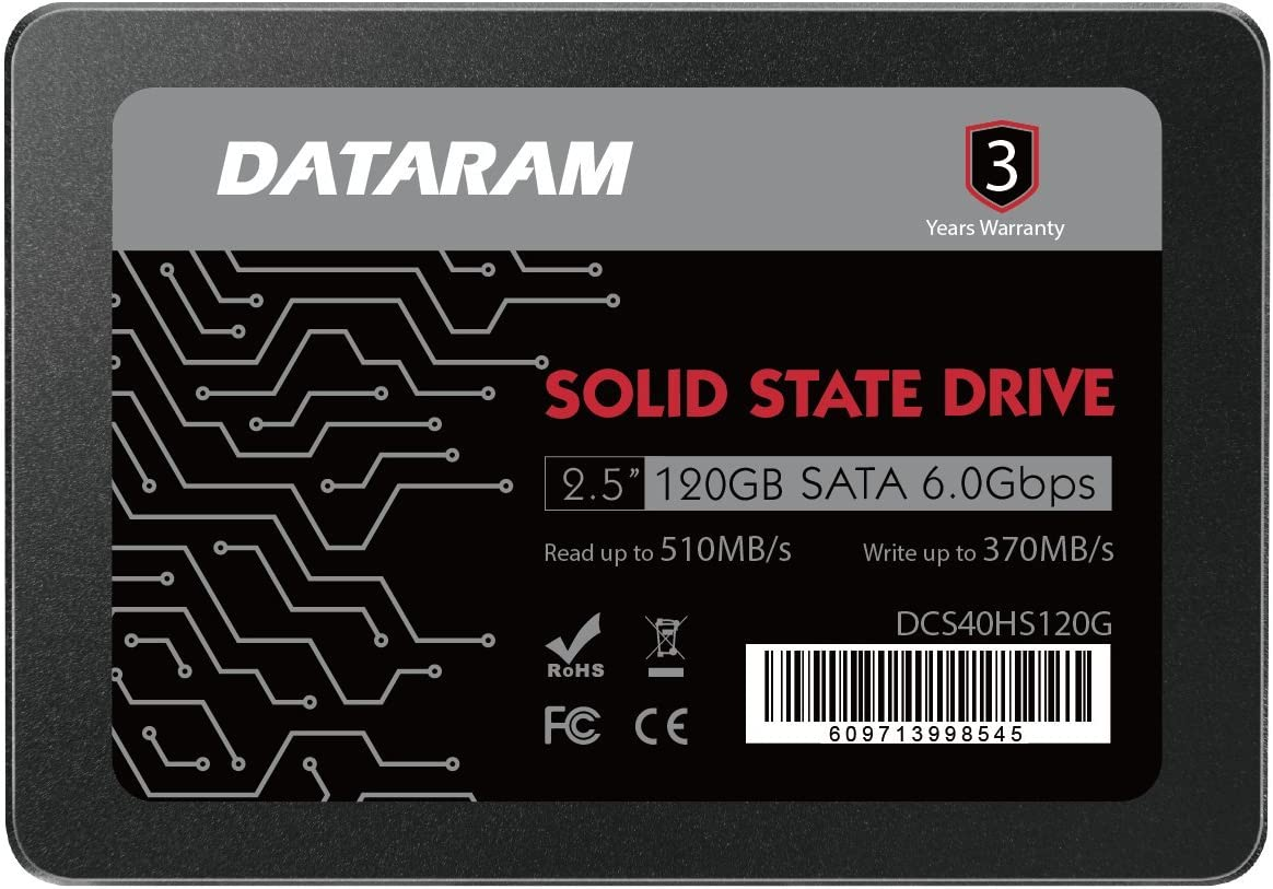 DATARAM 120GB 2.5 SSD Drive Solid State Drive Compatible with ASROCK FATAL1TY H270 Performance