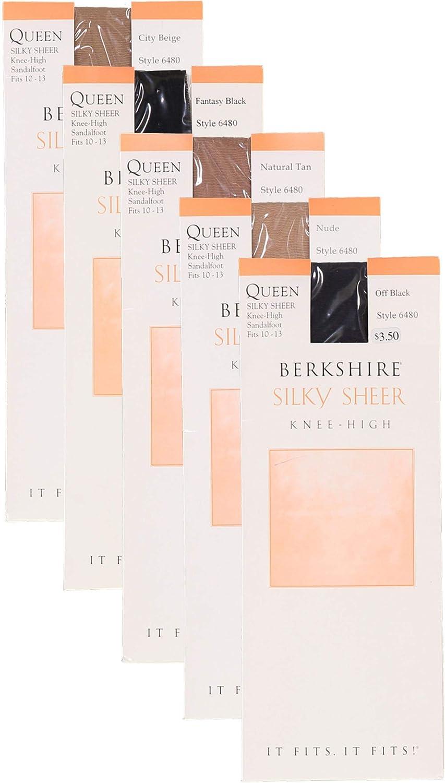 Berkshire Womens Plus-Size Queen Silky Sheer Knee Highs Sandalfoot 6480