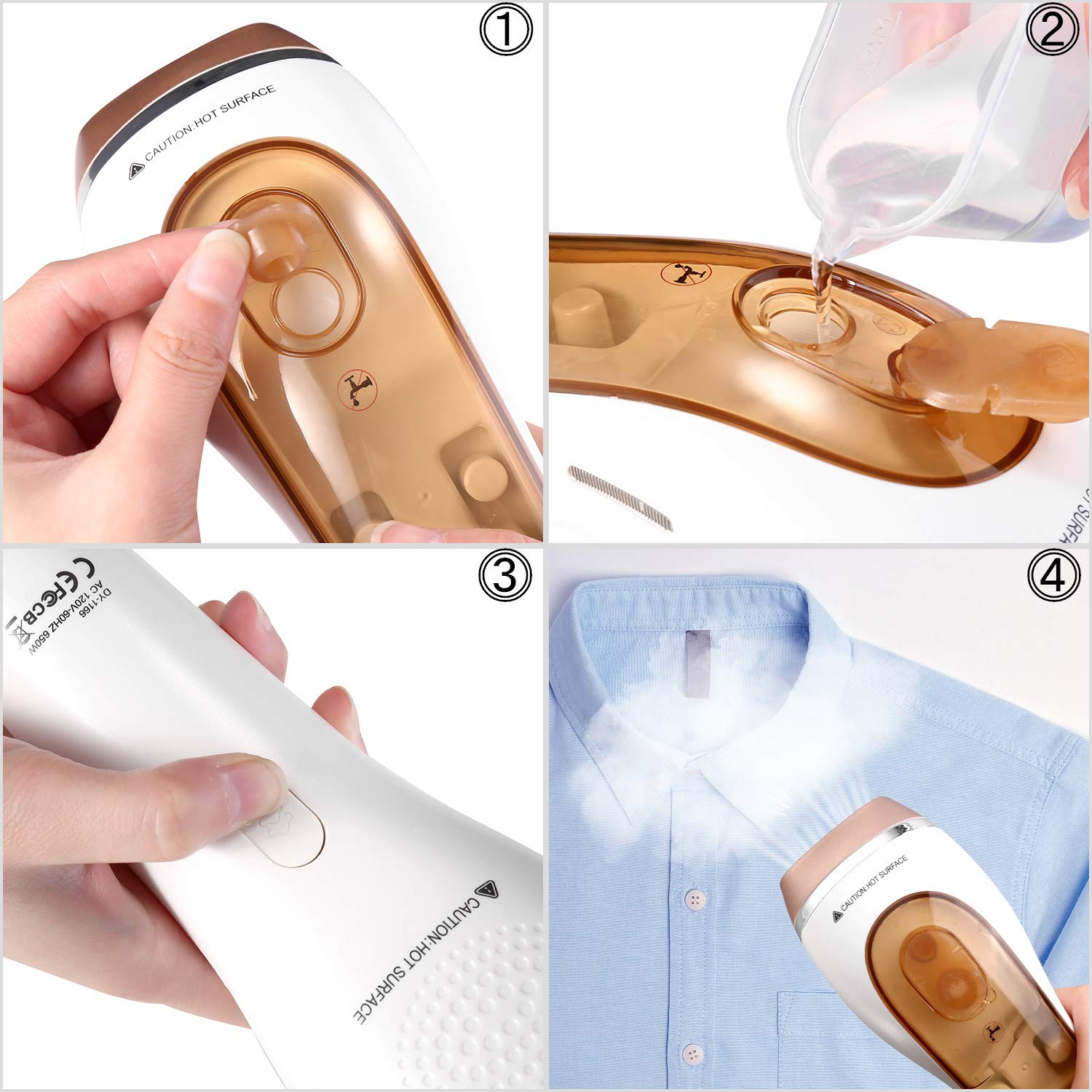 Gold EPICKA Steamer for Clothes Home Handheld Portable Travel Garment Steamer Powerful Wrinkle Remover 30s Heat-up