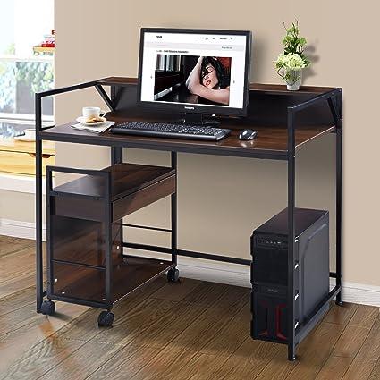 Amazon.com: Tangkula 2 Tier Computer Desk Home Office Studyroom ...