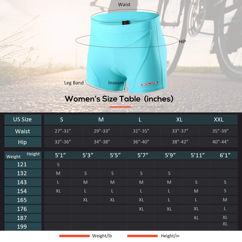 Souke Sports Damen Fahrrad Unterw/äsche 4D Gepolstert Atmungsaktiv Fahrrad Unterw/äsche Short