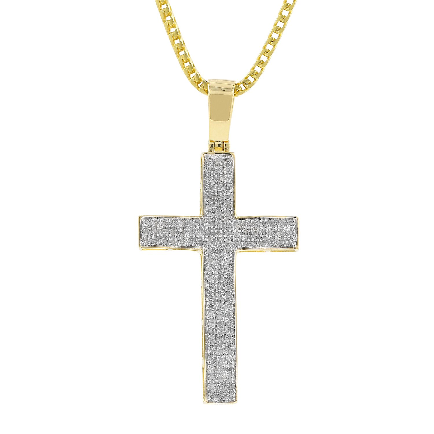 0.56ct Diamond Pave 3 Row Mens Hip Hop Cross Pendant Necklace in Yellow Gold Over 925 Silver (I-J, I2-I3)