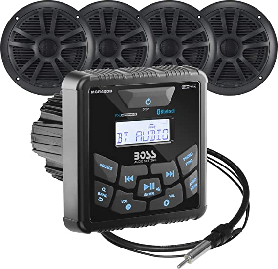 "Black Boss Audio MCKGB450B.6 Marine Package Bluetooth Stereo w//6.5/"" Speakers"