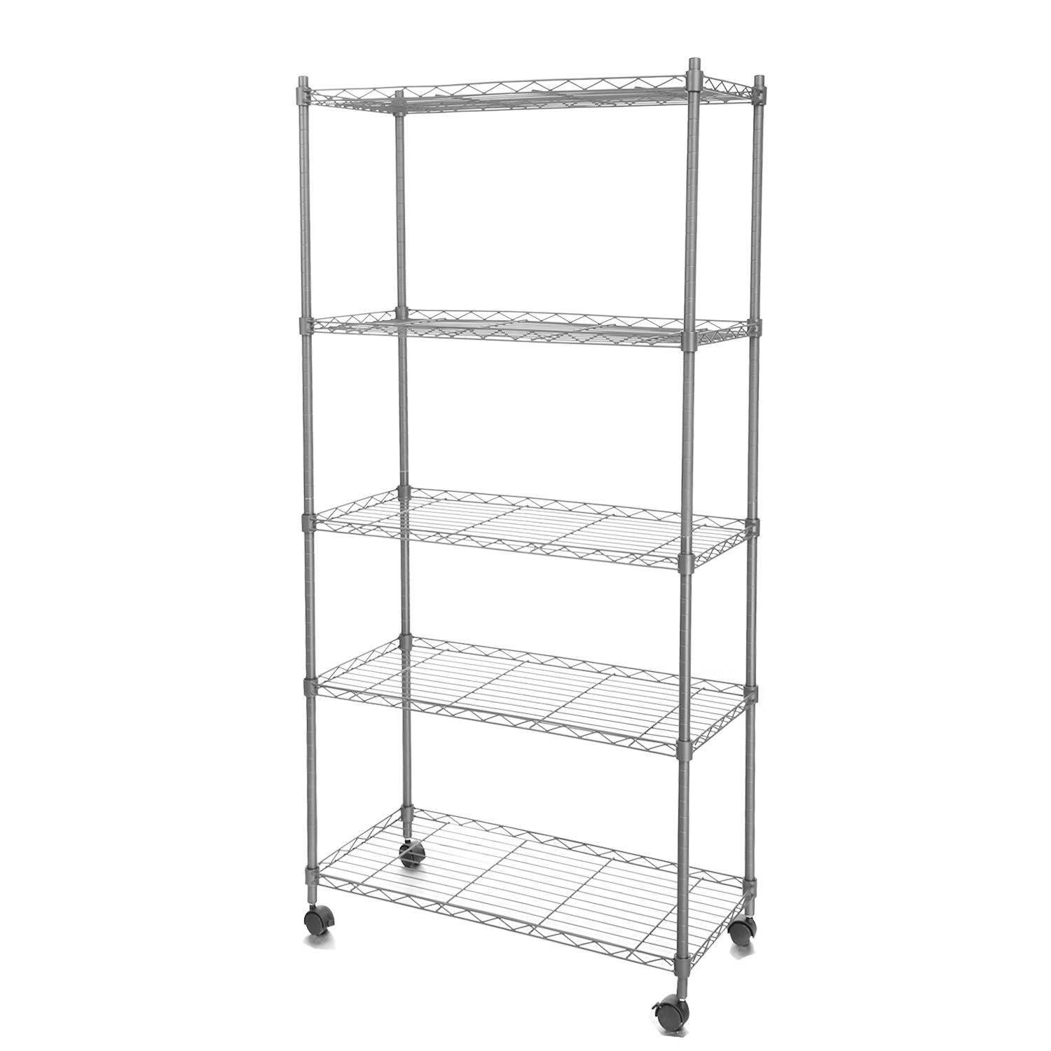 Hindom 5-Tier Steel Wire Shelving Unit on Wheels, Garage/Office/Kitchen/Restaurant Storage Rack for Organization with Adjustable leveling feet (US STOCK)