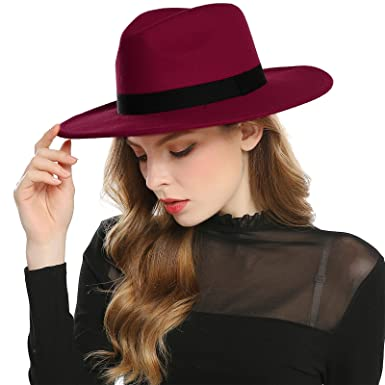 ebc7f3a22af AWAYTR Women s Faux Wool Felt Fedora Hat Wide Brim Derby Church Party  Panama Winter Hats