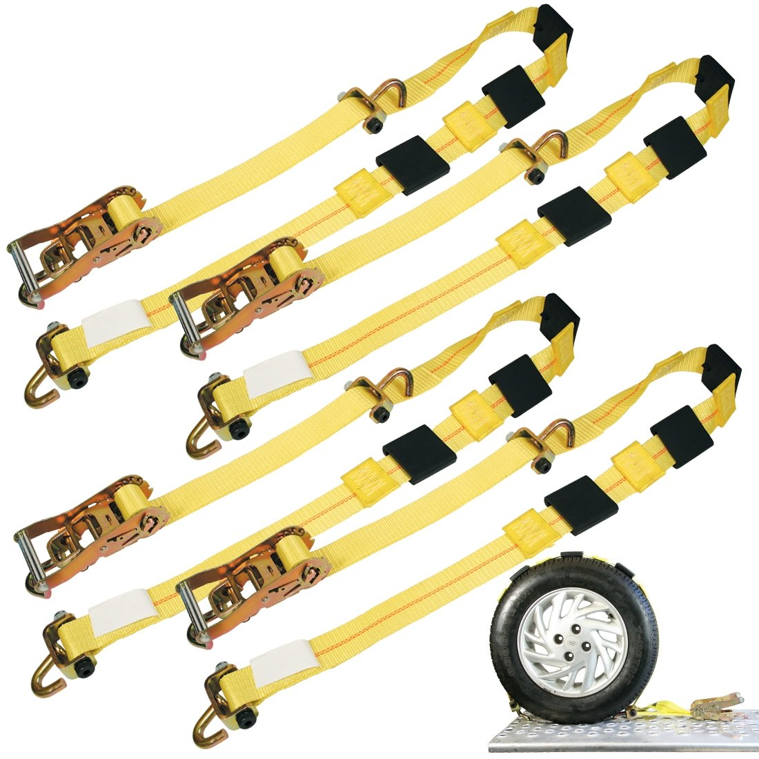 Vulcan Classic Rolling Idler Three Cleat Auto Tie Down System - 3300 lbs. SWL (120'' - Pack of 4)