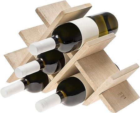Black Velvet Studio Botellero Vino 8 Botellas en Madera de Mango Color Natural - Estante Vinoteca para Bodega Despensa Mueble Estilo Nórdico 26 * 40 * 12 cm.