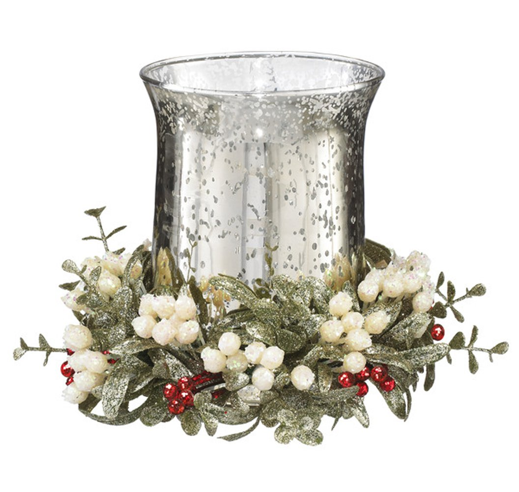 Mercury Glass Mistletoe Red Christmas Berry Tea Light Candle Holder