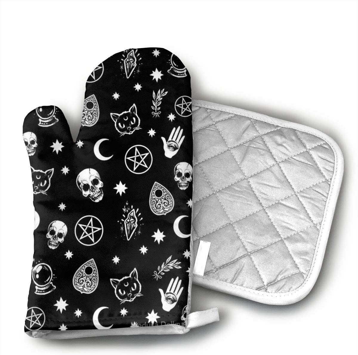 Jiqnajn6 Colorful Skull Cat Moon Gothic Pattern Oven Mitts,Heat Resistant Oven Gloves, Safe Cooking Baking, Grilling, Barbecue, Machine Washable,Pot Holders.