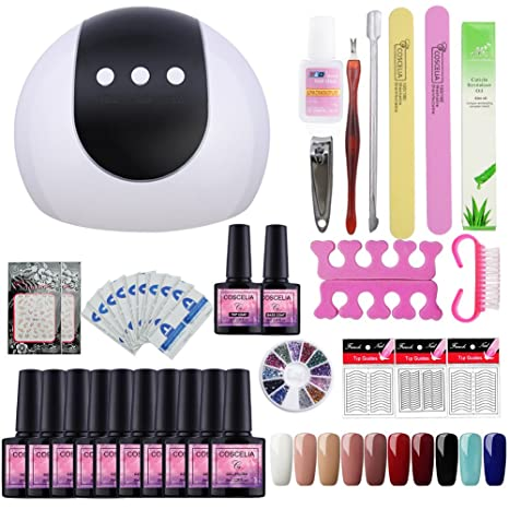 Saint-Acior Kit Uñas de Gel 10PCS Esmalte Semipermanente 8ml LED Lámpara 24W Secador de. Pasa ...