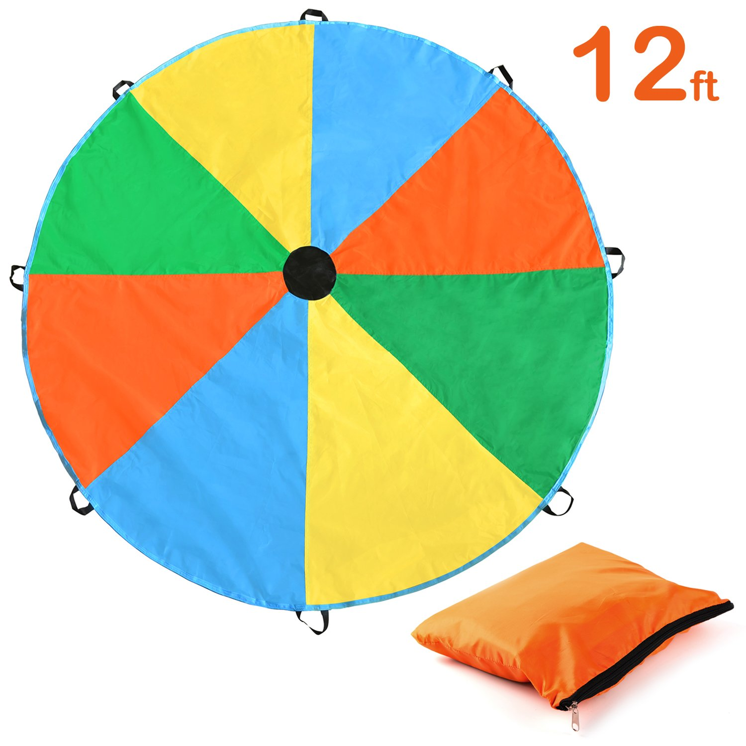 Kids Parachute, Magicfly 12 Feet Parachute Toys with 8 Handles for Kids Play, Kids Games, Outdoor Games, Outdoor Toys