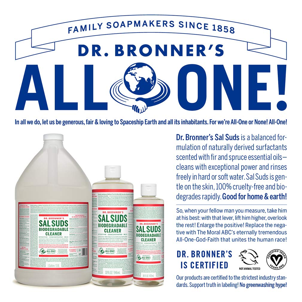 Dr. Bronner's - Sal Suds Biodegradable Cleaner (1 Gallon) - All-Purpose Cleaner, Pine Cleaner for Floors, Laundry and Dishes, Concentrated, Cuts Grease and Dirt, Powerful Cleaner, Gentle on Skin by Dr. Bronner's (Image #5)