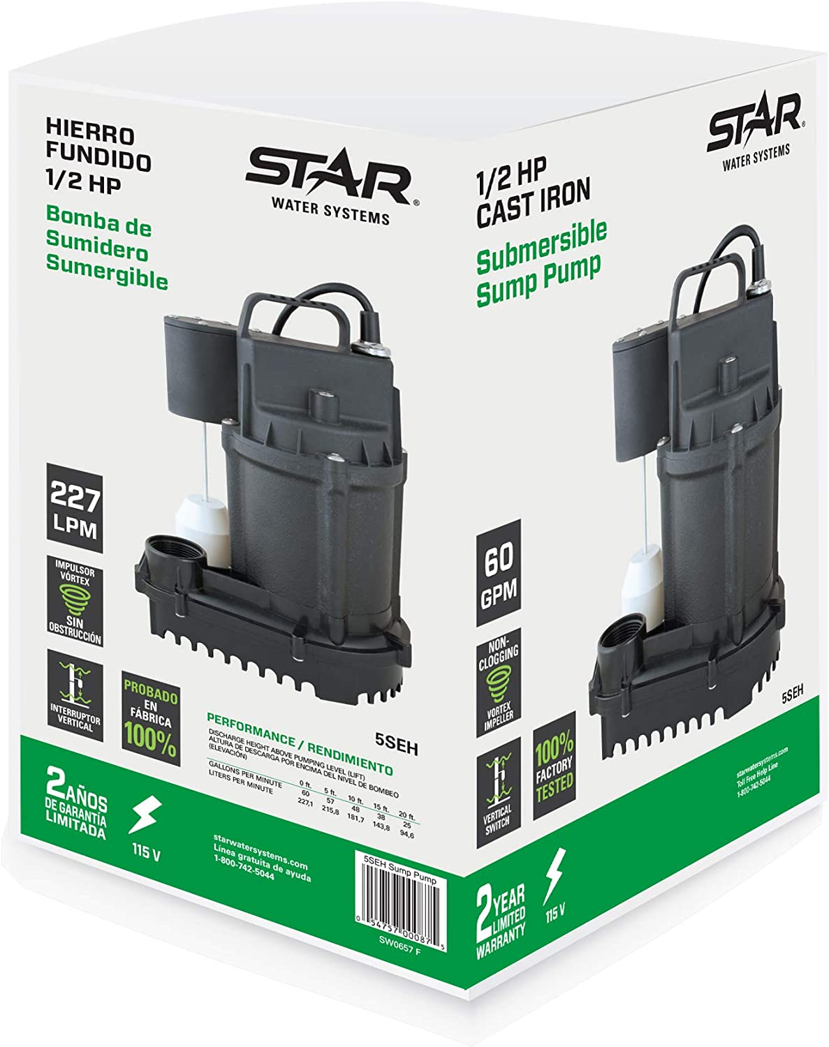 Star 5SEH 1/2 HP Cast Iron Submersible Sump Pump with Premium Vertical Float Switch (1-1/2