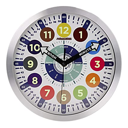 Educational Kids Wall Learning Clock - Easy To Read & Fun Way To Learn  Telling Time | Luminous at Night & Durable Aluminium Frame | Perfect For  The ...