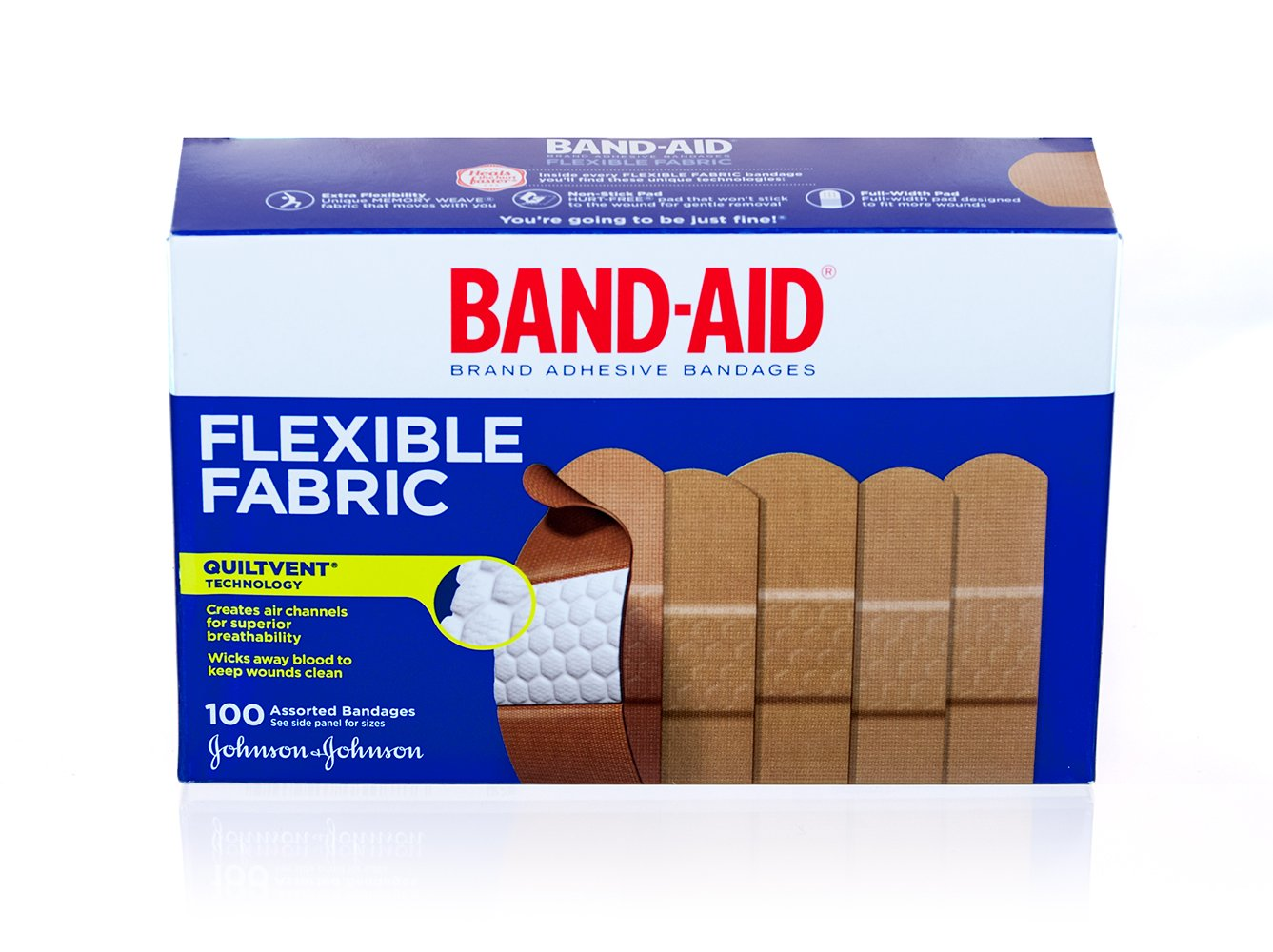 Band-Aid Brand Adhesive Assorted Bandages, Flexible Fabric, 100 Count (Pack of 12)