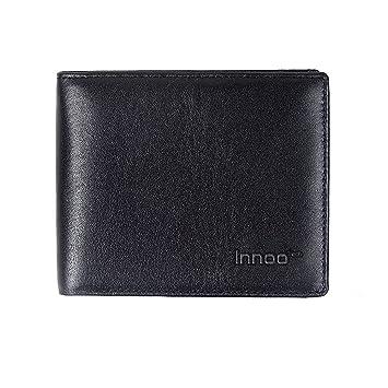 Innoo Tech RFID Cartera Hombre Versión Española Tamaño 10,6x9,5x1,5CM Monedero Multifucional Cuero Auténtico Para Tarjeta de Crédito, Dinero y Carnet ...