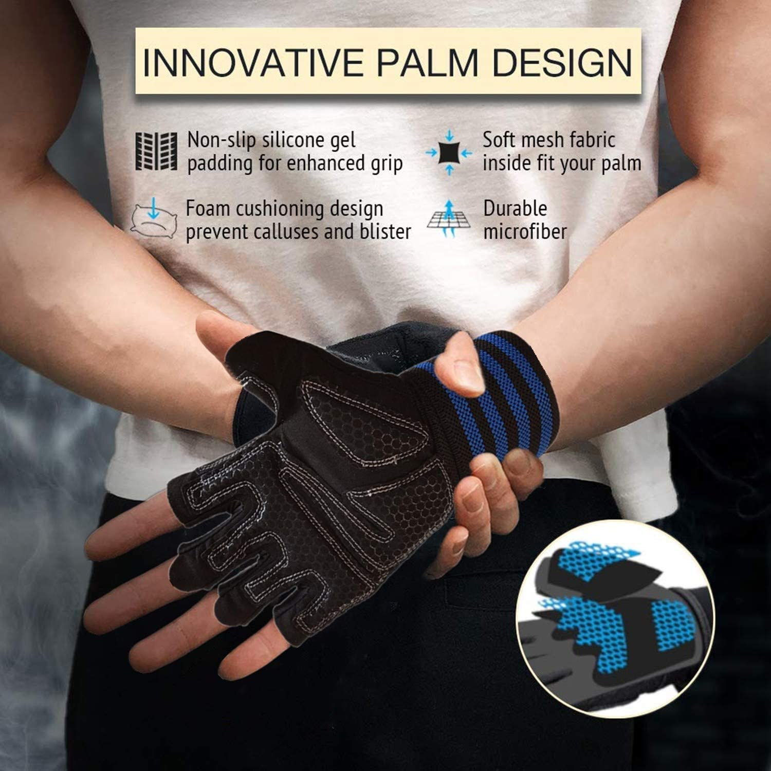 Anti-Slip Grip Half Finger Glove for Exercise Weightlifting Hanging Rowing Biking Training Weight Lifting Gloves Work Out Gym Men Women with Wrist Wraps Support