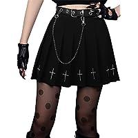 Women Punk Dark Mini Skirts Black Pleated Skirt Punk Embroidery Skirt Schoolgirl High Waist Gothic Mini Skirt with Chain…