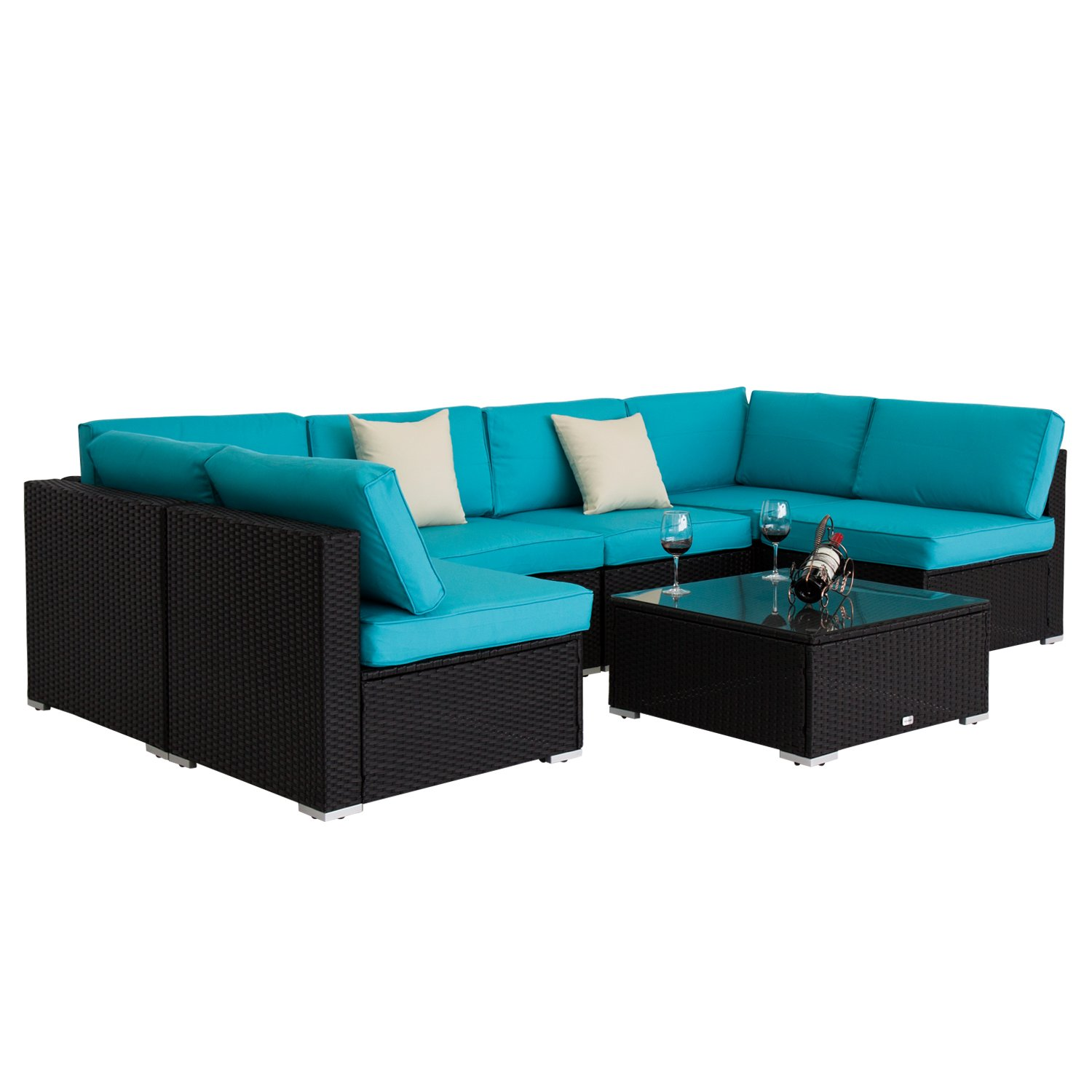 Peach Tree 7 PCs Outdoor Patio PE Rattan Wicker Sofa Sectional Furniture Set With 2 Pillows and Tea Table by Peachtree Press Inc (Image #4)